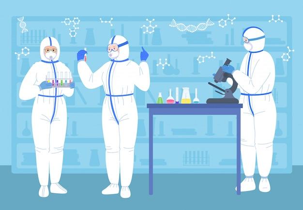 Ученые люди в лаборатории. с колбами, микроскопом, защитными костюмами, маской. химическая лаборатория ученый работа, медицина работников плоский характер. открытие вакцины коронавируса. изолированная иллюстрация