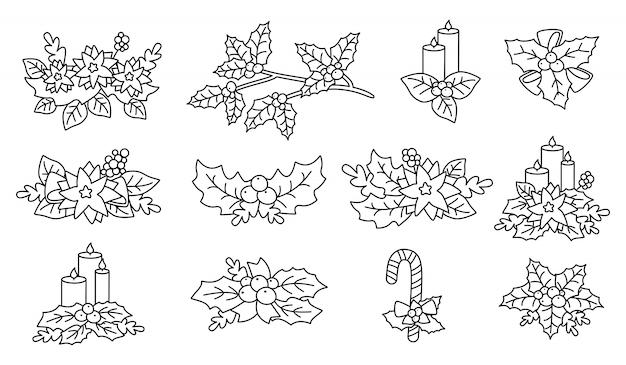 クリスマスポインセチア、ヒイラギ、キャンドルセット。線形フラット漫画デザイン要素。新年とクリスマスの概要構成。ベリーとキャンディー、花のコレクション、星付き。孤立した図