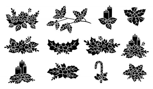 クリスマスポインセチア、ヒイラギ、キャンドルシルエットセット。黒グリフフラット漫画デザイン。新年とクリスマスの組成物。ベリーとキャンディー、花のコレクション、星付き。孤立した図