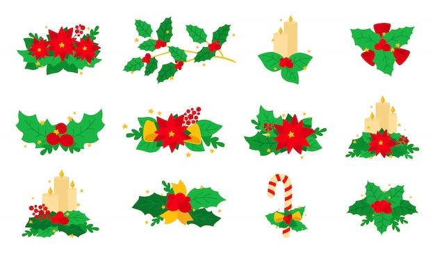 クリスマスポインセチア、ヒイラギ、キャンドルセット。フラット漫画デザイン要素です。新年とクリスマスの組成物。果実とお菓子、星と花の組成コレクション。孤立した図