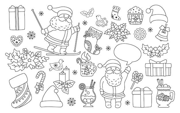 クリスマスと新年のラインセット。黒の線形ホリー、カップケーキ、ベル、カップ、帽子、サンタスキークッキーギフト。フラット漫画デザイン要素。新年とクリスマスのコレクション。孤立した図