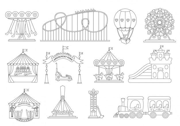 遊園地の黒い線シルエットセット、カルーセル漫画のスタイル。遊園地、ジェットコースター、カルーセル馬、気球