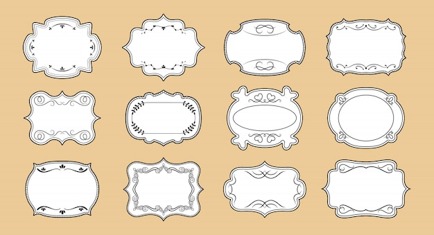 ラベルの装飾用の空白のフレームセット。エレガントな王室の華やかなタグを作ります。ビンテージカーリーフレームコレクション書道要素