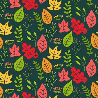 枝と葉、果実のシームレスなパターン。葉の花の背景。