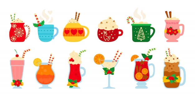クリスマスの温かい飲み物セット。フラット漫画別の飲み物。新年の飲み物。かわいいマグカップホットココア、コーヒー、ミルク、クリーム、ホットワイン