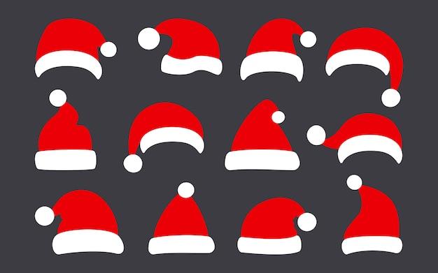 サンタクロースの帽子、クリスマスフラットセット。クリスマス冬の赤い帽子。