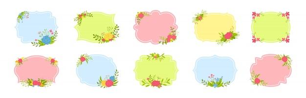 ラベルフレームセット。装飾された花の組成、花の枝と葉。装飾的なカラフルなフラット漫画フレームコレクション