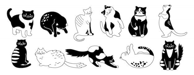猫キャラクターコレクション。かわいいフラット漫画デザインペットセットをバンドルします。別の子猫の品種。面白い猫が座って寝ています。モノクロの手描き動物の輪郭線。孤立した図