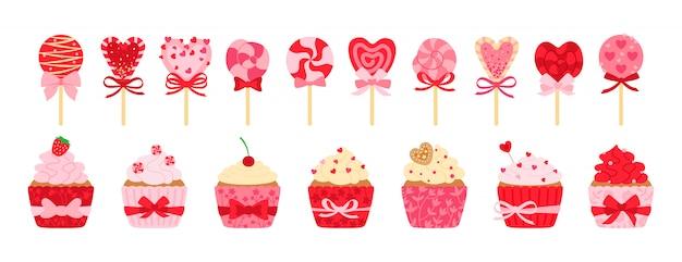 バレンタインデーのお菓子、キャンディー、カップケーキセット。漫画のおいしい休日フラット漫画お菓子。ロリポップサトウキビキャラメル、シュガーケーキクリーム。パーティーフード、飾られた心、弓。孤立した図