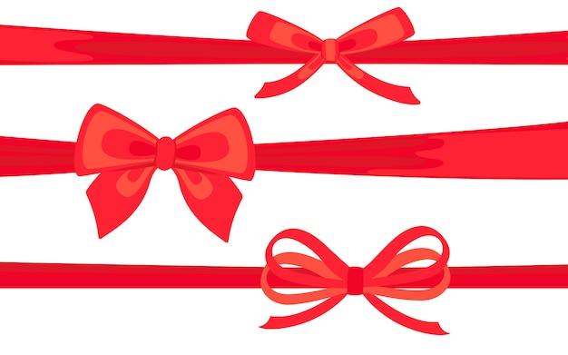 リボンフラットセットで飾られた赤のサテンリボン。バレンタインの日や結婚式やクリスマス装飾の弓。現在、お祝い、お祝いのための漫画のデザイン要素。孤立した図