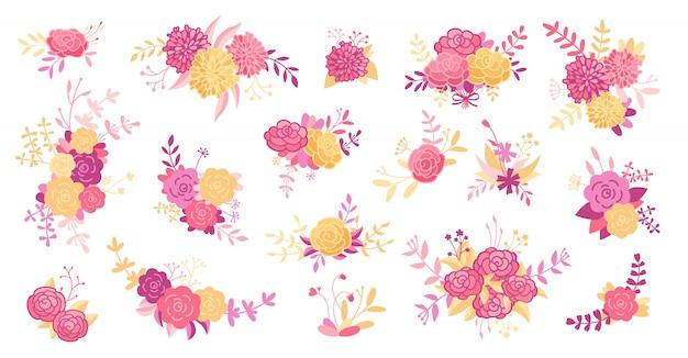 花の枝セット。ピンクのバラの花、葉、紫の枝。結婚式のコンセプト、ヴィンテージの花。花のポスターを抽象化、漫画のコレクションを招待します。グリーティングカード、招待状のデザイン。図
