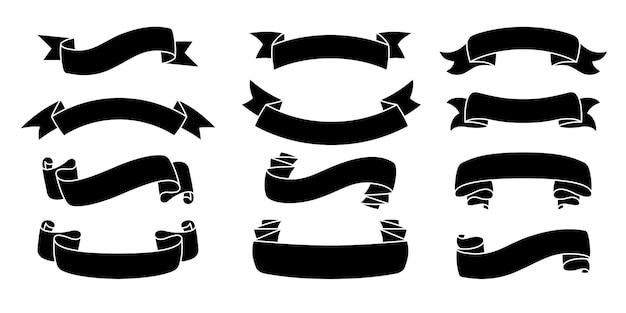 リボン手描きセットテープブラックシルエット