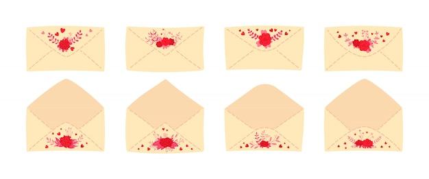 ビンテージ封筒フラットセットの結婚式の手紙