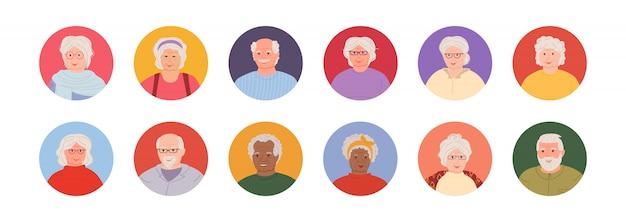 老人アバター漫画スタイルセット。男性と女性のコレクションに直面している多国籍高齢者