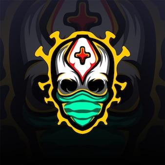 頭蓋骨防護マスクロゴマスコット