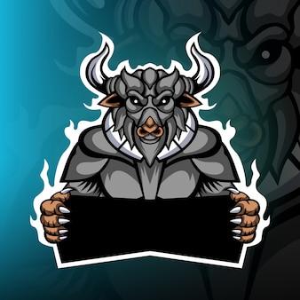 強い水牛の騎士のゲームマスコットロゴ