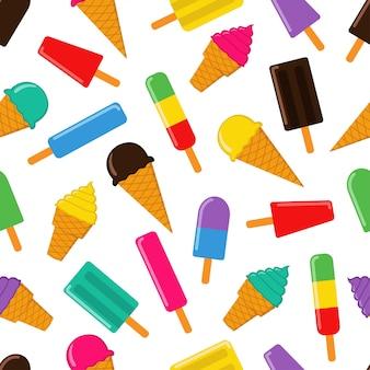 アイスクリームのシームレスなパターンベクトルデザイン