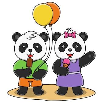 Милая панда шаржа есть дизайн иллюстрации мороженого