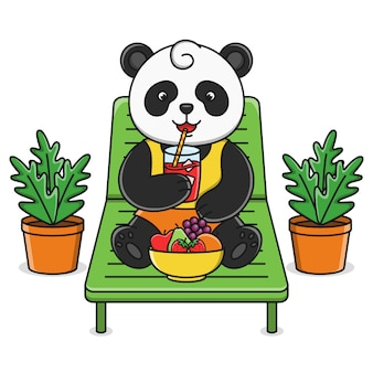 Милый мультфильм панда пьет фруктовый сок