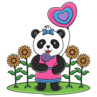 Милый мультфильм панда ест леденец