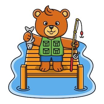 Карикатура иллюстрации медведя рыбалки