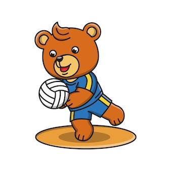 Мультфильм иллюстрация медведя, играющего в волейбол