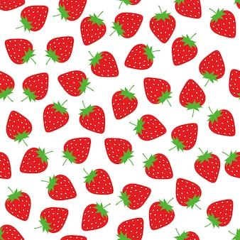 イチゴのシームレスなパターンの背景ベクトルのデザイン