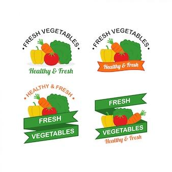 新鮮な野菜ロゴデザインベクトル