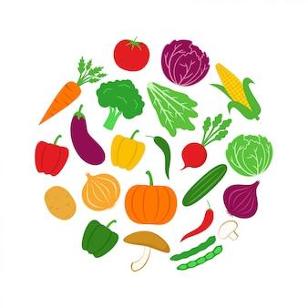 サークルの野菜アイコンのデザインのベクトル図