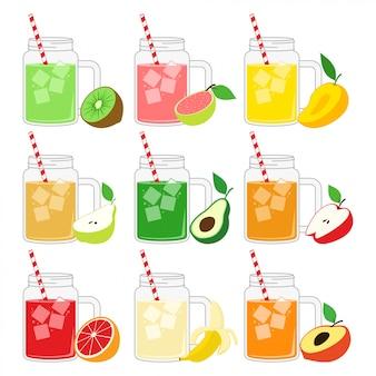 マグカップデザインのベクターイラストセットのフルーツジュース