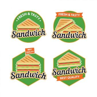 バッジデザインによるサンドイッチロゴベクトル