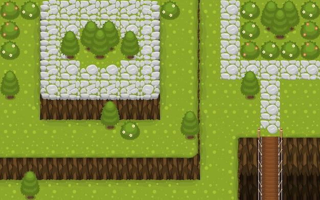 村のトップダウンゲームのタイルセット