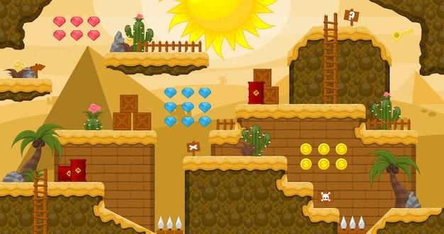 エジプト砂漠のゲームのタイルセット