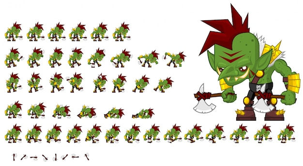 Зеленый орк игра спрайт
