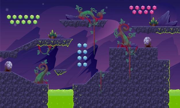 パープルプラネットゲームのタイルセット