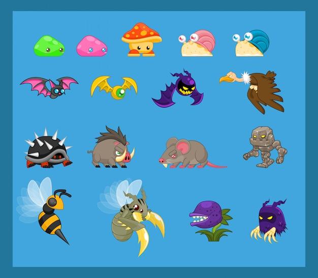 動物とモンスターのキャラクターイラスト