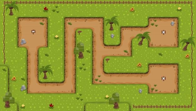土地トップダウンゲームのタイルセット