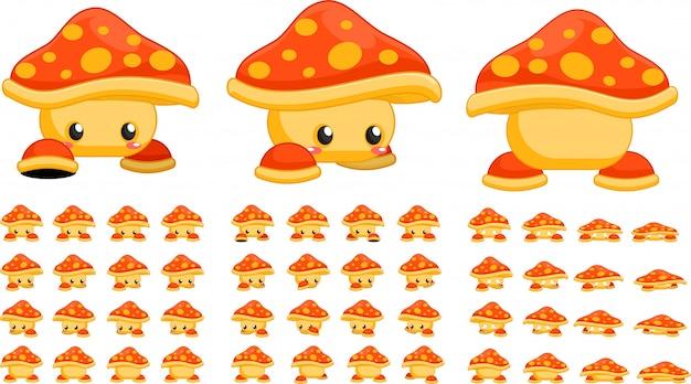 Оранжевые грибные игровые спрайты