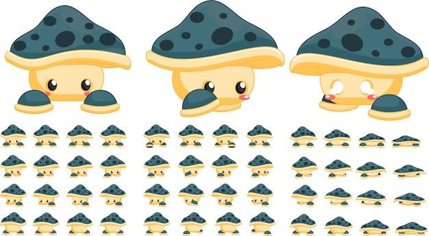 Зеленые грибные игровые спрайты