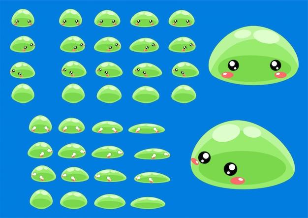 Зеленые игровые спрайты слизи