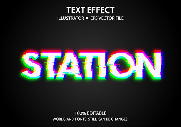 編集可能なテキストスタイルの効果ステーション