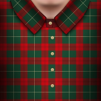 男性の体に格子縞のシャツ