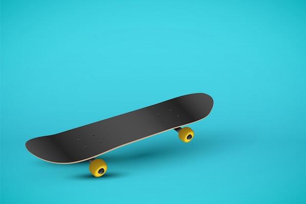 Скейтборд на пастельном синем фоне