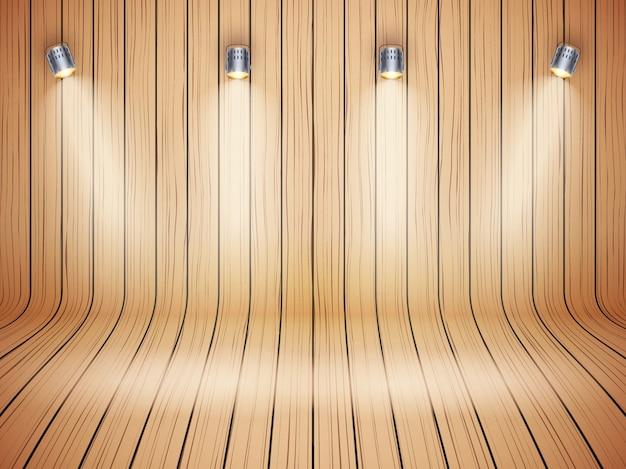 スポットライトと湾曲した木製の背景