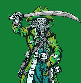 頭蓋骨のキャラクターの海賊が刀の手描きを保持