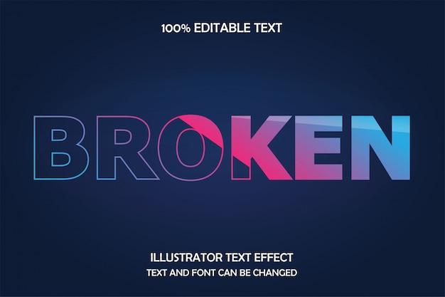 Сломанный, редактируемый текст, эффект прозрачного стиля