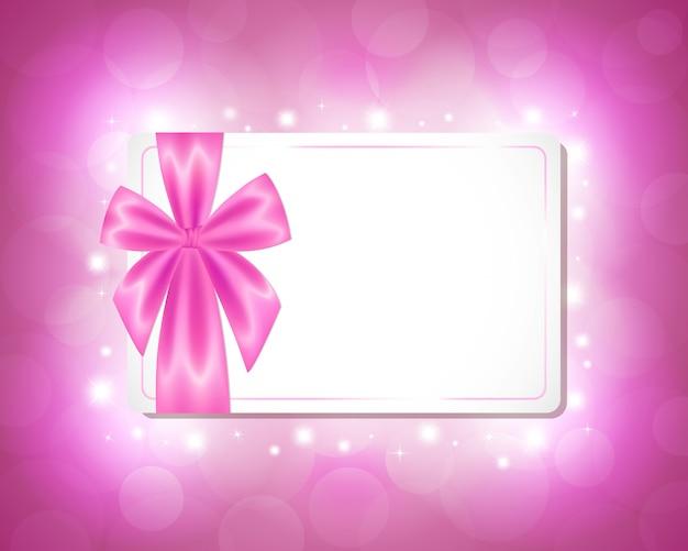 ピンクのリボン付きカード