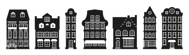 Символ домов силуэт амстердам установить. графический таунхаус, европейский стиль. черный городской и загородный дом коттеджа.