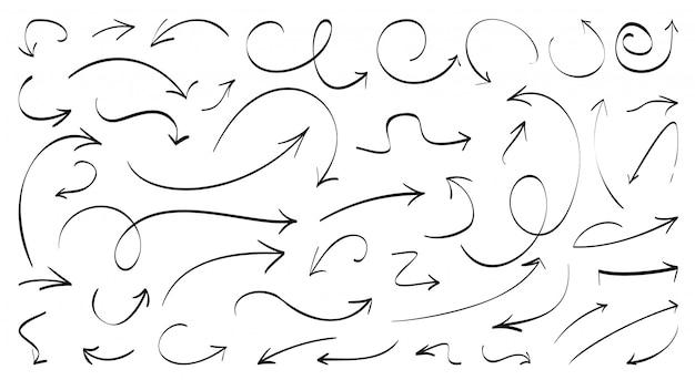 手描きの黒い線の矢印セット。左下の方向標識を落書き。平行ペン曲線矢印記号をスケッチします。グラフィックデザイン要素をビジネス成長