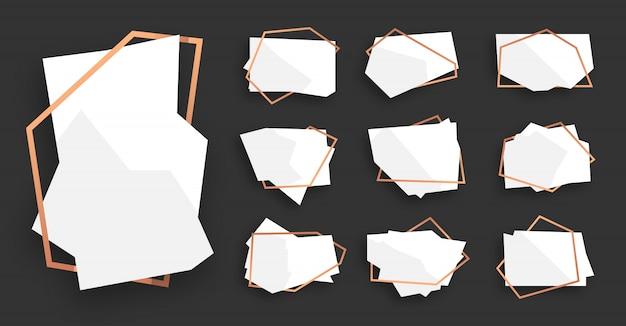 ローズゴールドラインフレームセットと抽象的な多角形の幾何学的な白い旗。テキストの空のテンプレート。豪華な装飾的なモダンな多面体フレーム